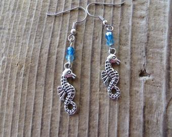 Silver Seahorse Dangle Earrings
