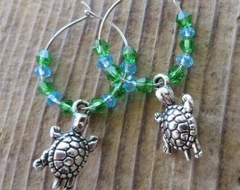 Silver Sea Turtle Charm and Blue Green Crystal Hoop Earrings