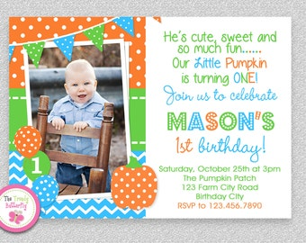 Blue Orange Pumpkin 1st Birthday Party Invitation