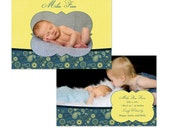 Instant Download - Finn-2 Baby Boy Birth Announcement - Perfect for Photographers - 5x7 Flat - Two Sided