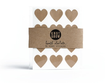 144 Kraft Heart Stickers / FREE SHIPPING