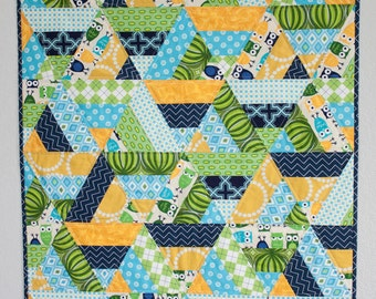 Scrappy Baby Boy Quilt - Stroller Quilt, Car Seat Quilt, Play Mat - Blue, Green, Yellow