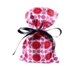 ON SALE -- Small Organic Cotton Gift Bag or Gift Card Holder Orchid with Red Flowers & White Geometric Print