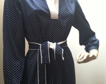 GREENTREE by Walden Navy Blue White Polka-Dots Dress 70s Authentic Vintage Designer Huge SALE Liquidation Last Chance Store Closeout