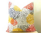 Outdoor Blooms Decorative Pillow Cover - Coral Orange - Yellow - Gray - 16 inch - Floral Pillow - Outdoor Pillow - Modern Pillow - Throw