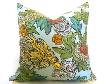 Dwellstudio Dragon Ming Pillow Cover - 18 inch - Aquamarine - Chinoiserie - Dragon Pillow - Designer Pillow - Decorative Pillow