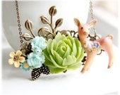 Deer in Forest Necklace - Floral Rustic Collage Necklace,Shabby chic necklace,Vintage Style,Anniversary Gift