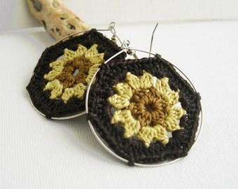 Big hoop earrings - Granny Hexagon Earrings - Colorful lace earrings - Golden Brown earrings - Retro Fashion colorful earrings - boho chic