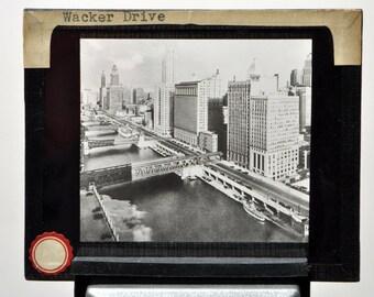 Wacker Drive Chicago Vintage Magic Lantern Slide