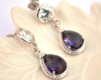 Bridesmaid Purple amethyst Earrings Studf post  Zirconia Framed Glass Sterling Silver