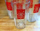 Vintage Star Burst Red and White Sputnik Glasses (Set of Four)