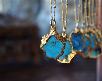 TURQUOISE NECKLACE  /// Petite Aqua /// Small Turquoise Chunk Necklace /// Electroformed 24kt Gold