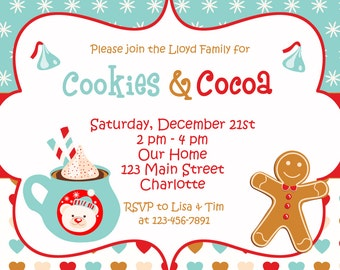 Cookies and cocoa winter party Invitation  - winter birthday -- cookie party