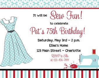 Sewing party birthday invitation vintage sewing invitation -- sewing birthday -  sewing machine, thimble, thread - You print or I print