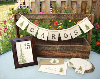 Rustic Wedding Cards Banner Sign Pine Trees Garland Woodland Mountain Country Adventure Birthday Party