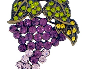 Purple Grape Amethyst Crystal Fruit Pin Brooch 1003392
