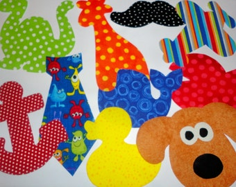 10 Iron On Baby Boy Fabric Applique Assortment...Whale/Giraffe/Dinosaur/Duck/Tie...Great For Baby Shower Onesie Making Party/Quilts/Onesies
