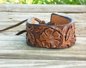 Leather Cuff Bracelet - Spring and Summer Flowers - Handmade Tooled Jewelry - Rustic Accessories for Her