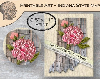 Indiana State Map Art Print Peony State Flower DIY Printable Art Instant Download Pink Flower Map of Indiana