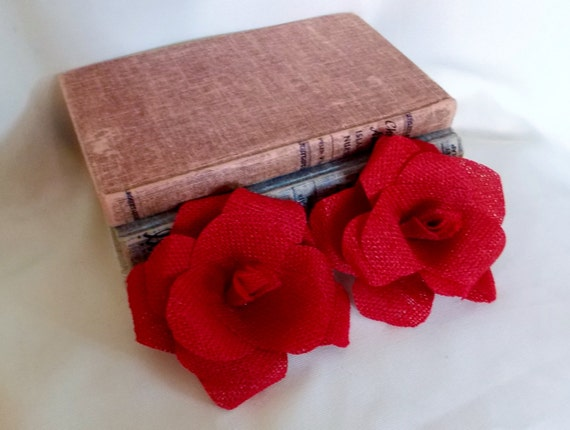 Red Roses Burlap Flowers Christmas Holiday Table Decoration Wedding Decor Country Shabby Chic Rustic Decor Home Decoration Candy Red Apple