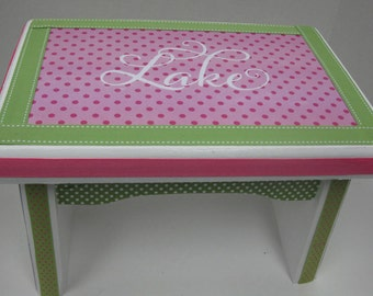 Stool Sturdy Wood Step Stool- Pink and Green