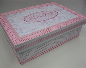Girl's Personalized Keepsake Box- Pink Toile  and Gingham