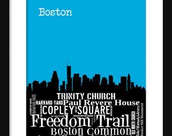 Boston Skyline Typography Print Poster Map