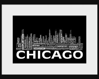 Chicago Skyline Word Art Typography Typographical Print Poster