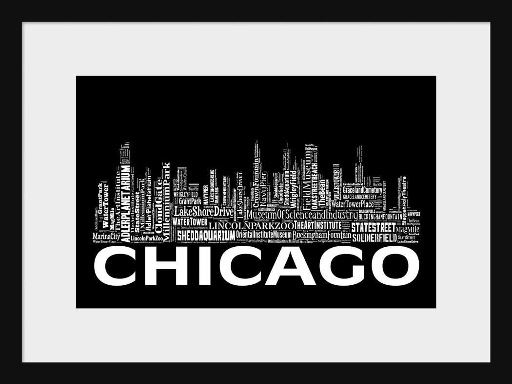 Chicago Poster Etsy - Chicago map artwork