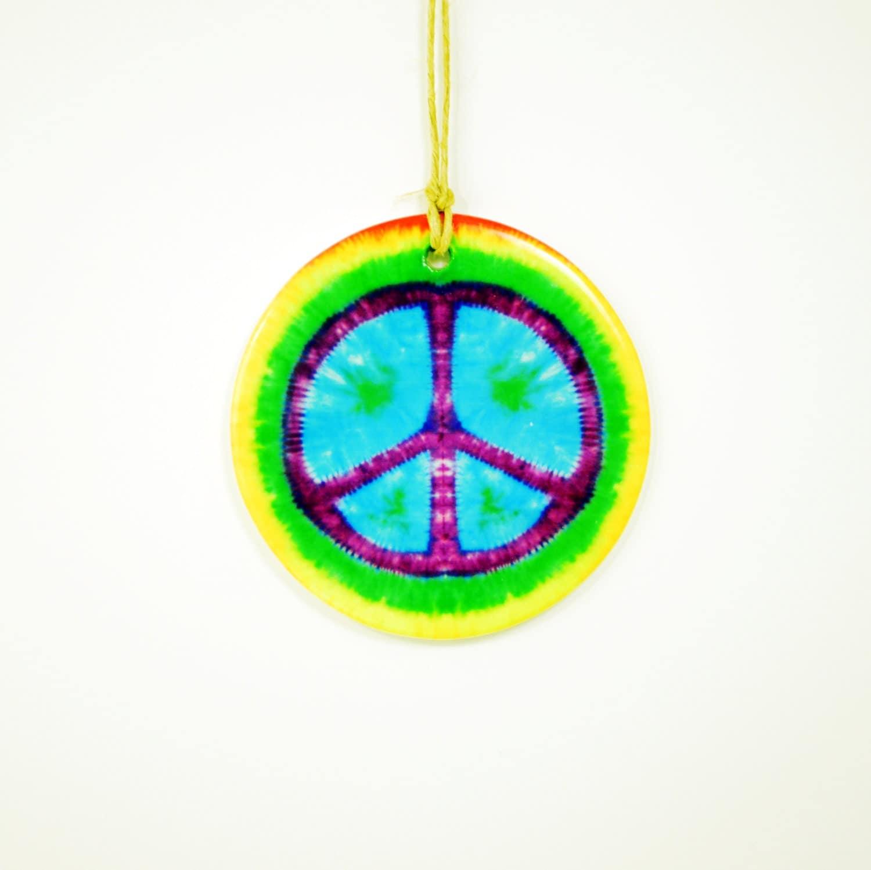 peace sign tie dye purple blue green fun colorful ceramic