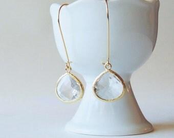 Clear glass crystal diamond large gold tear drop earrings. Bridal earrings. Bridesmaids earrings. Bridesmaid Wedding jewelry Dangle drop