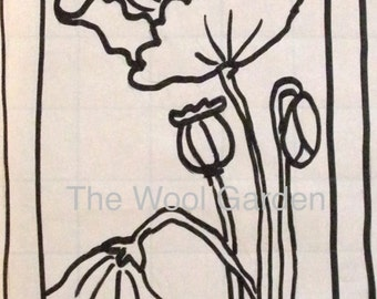POPPIES - Rug Hooking Pattern Hand Drawn on Primitive Linen Backing
