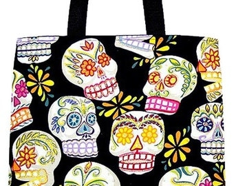 Glittery Day of the Dead Sugar Skulls Carryall Tote Book Bag - Choose Size