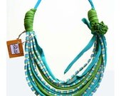 ocean colors african style fabric recycle designed necklace  with fabric flower-turquoise green-women fashion-ethnic jewelry-spring fashion