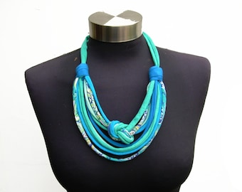 Ocean african style women fashion recycle fabric necklace-ethnic pattern spring summer jewelry-decorative knot-turquoise-textile jewelry