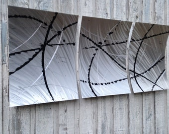 Metal wall art abstract metal sculpture silver home decor by Holly Lentz