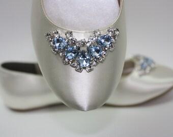 Wedding Shoes - Ballet Flats - Wedding Flats - Blue Crystals - Something Blue Shoes - Wedding Shoes By Parisxox - Choose From 100 Colors