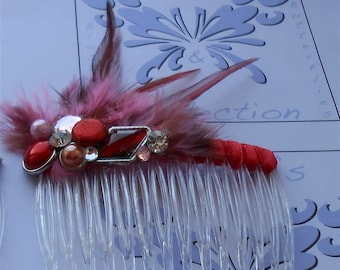 Red Wedding Hair Comb, 1920 Style Headpiece