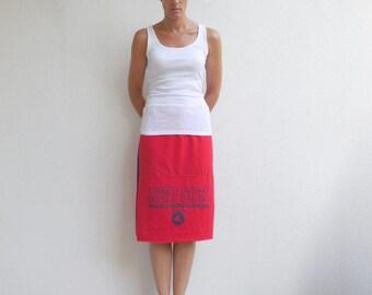 Boston Red Sox Baseball TShirt Skirt Tee Skirt Navy Blue Red Women's Clothing Cotton Skirt Handmade Skirt Fall Skirt Autumn ohzie