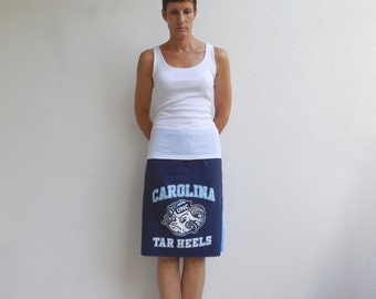 University of North Carolina T Shirt Skirt Women's Skirt Basketball Skirt Handmade Skirt Cotton Skirt Sports Skirt Chapel Hill NC ohzie