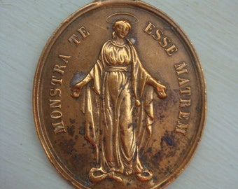 French Nuns Medal Antique Circa Late 1800's Not Engraved Brass Marie Mary Esse Matrem