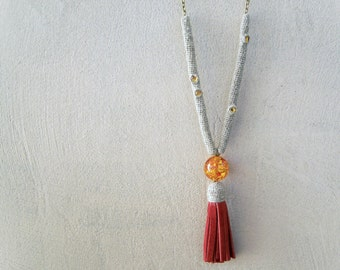 Hot Tassel Necklace Linen Hemp Leather, Ruby Red Bohemian Fringe, crochet tube topaz swarovski crystals