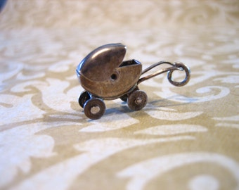 VINTAGE 40s Sterling Silver Baby Buggy Charm Moves