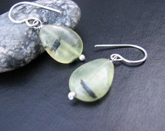 Prehnite Stone Earrings Sterling Silver Chartreuse Celery Green Stones Black Slashes Shiny Silver Gemstone Earrings