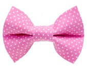 """Cat Bow Tie - """"The Honey Bunny"""" - Pink with White Polka Dots"""