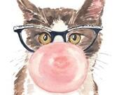 Funny Cat Watercolor Print - Pink Bubble Gum, Retro Glasses, 5x7 Painting Print, Nursery Art