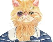 Cat PRINT Watercolor Painting - 11x14 Watercolour PRINT, Mug Shot, Persian Cat