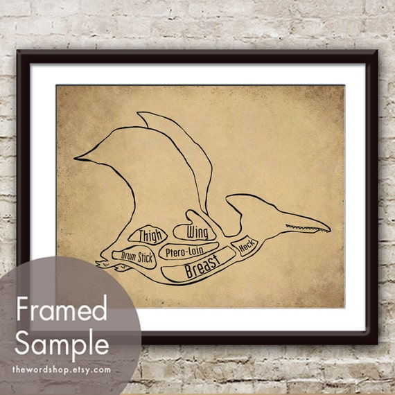 Pterodactyl, Dinosaur Butcher Diagram Series- Art Print (Featured in Cork Board w Black) Customizable Colors (Buy 3 and get One Free)