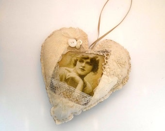 Victorian Inspired Heart Ornament Vintage Photo Romantic Home Decor Shabby Cottage Chic