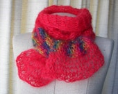ENGLISH MOHAIR Hand Knit Scarf in RED Rainbow / Baby Photo Prop